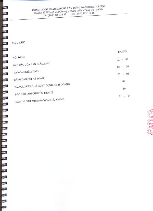 Báo cáo tài chính năm 2012