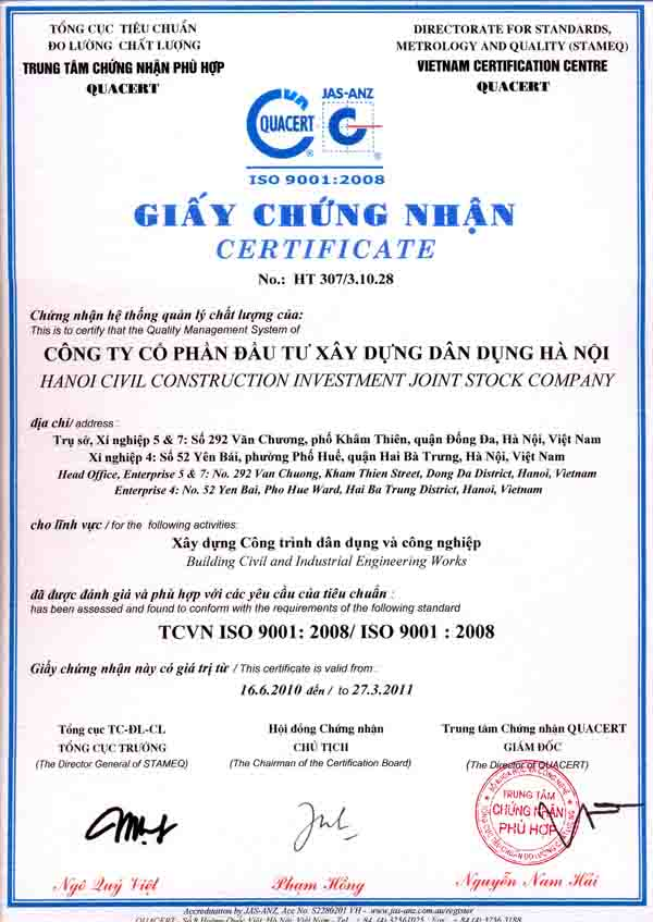 Chứng chỉ ISO 9001 : 2008